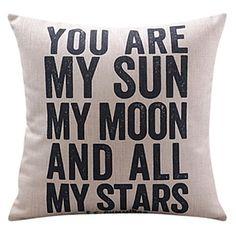 You Are My Sun Cotton/Linen Decorative Pillow Cover – USD $ 16.99