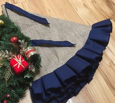 Burlap tree skirt with navy blue ruffles  SELECT A SIZE  No