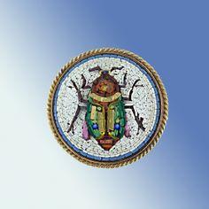 Micro Mosaic Scarab Brooch