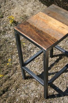a simple little stool of steel and wood #metalfreddesigns