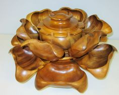 Lazy Susan Lotus flower Monkey Pod wood Mid Century decor 15 pc set Philippiness #Handmade