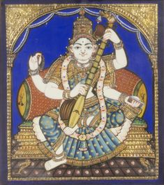 Philadelphia Museum of Art - Collections Object : Sarasvati Geography: Made in Thanjavur, Tamil Nadu, India, Asia Date: Late 19th century Medium: Pigment, semiprecious stones or glass, and gold leaf on wood Dimensions: Image: 14 1/8 × 12 3/4 inches (35.9 × 32.4 cm) Frame: 16 3/4 × 15 1/4 × 2 3/8 inches (42.5 × 38.7 × 6 cm) Curatorial Department: South Asian Art Object Location: Currently not on view  Accession Number: 2009-208-4 Credit Line: Bequest of Oppi Untracht, 2009