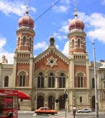 The Great Synagogue (Czech: Velká Synagoga) in Plzeň (Pilsen), Czech Republic is the second largest synagogue in Europe. Sacred Architecture, Religious Architecture, Synagogue Architecture, Temples, Jewish Synagogue, Budapest, Around The World In 80 Days, World Religions, Monuments