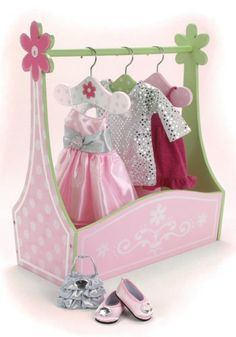 Doll Furniture Dress Rack & Set of 3 Hangers, Hand Painted, Fits American Girl Doll Bed Rooms and 18 Inch Doll Clothes Sophia's http://smile.amazon.com/dp/B0064P6KUO/ref=cm_sw_r_pi_dp_zILrub145R8C9