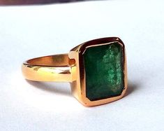 Natural Emerald Gemstone Ring- Square Emerald Ring- Rose Gold on 925 Sterling Silver Ring- May Birthstone Gift Ring- Christmas Gift Idea Rose Gold Emerald Ring, Emerald Gemstone, Emerald Jewelry, Rose Gold Jewelry, Jewelry Rings, Gemstone Rings, Jewellery, Ring Verlobung, Antique Rings