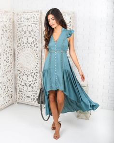 Get boho in our Dreamers Cove High Low Dress! The earthy hue is incredibly chic while the silhouette is ethereal and romantic. Embroidered detail down the bodice and front buttons, offer a unique touc