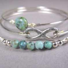 Silver Infinity and African Turquoise Bracelet Set, Silver Bracelet, Bangle Bracelet, Infinity Symbol, Silver Bangle, Turquoise