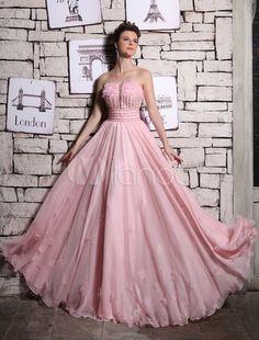 Vestido de noche de chifón rosado sin tirantes con flor - Milanoo.com