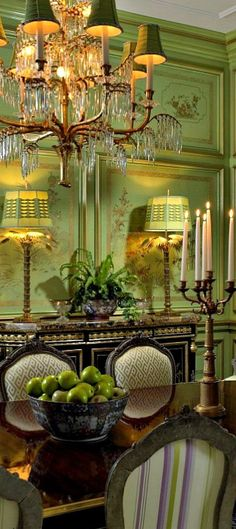 English green formal dining room. Draperies, lighting, and accents for this style, DesignNashville.com