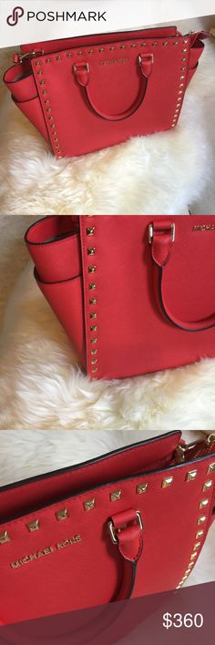 Michael kors studded Selma Large size red studded Selma | new condition Michael Kors Bags Crossbody Bags