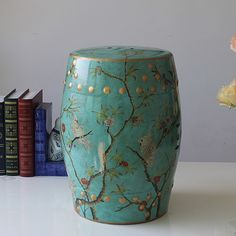 101.50$  Buy now - http://alivr1.worldwells.pw/go.php?t=1726141711 - American style colored drawing parrot bird ceramic stool change a shoe stool dressing stool new house decoration