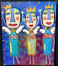 """""""Who Wants To Be Angel Queen For A Day?"""" Original painting by Tracey Ann Finley- www.traceyannfinley.com"""