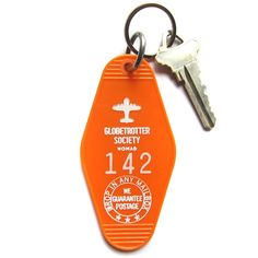 Vintage Style Hotel Motel Plastic Keychain Key Tag Fob Globetrotter Society