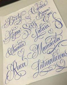 Cursive Tattoo Letters, Tattoo Fonts Cursive, Script Tattoos, Hand Lettering Alphabet, Chicano Lettering, Graffiti Lettering, Typography, Gangsta Tattoos, Sexy Tattoos