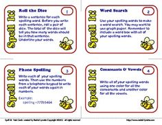 Spelling Task Cards: 40 Activity Cards for Any List!  students can choose their spelling activity