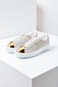 Slide View: 1: Puma Suede Platform Gold Toe Sneaker