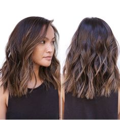 Medium Choppy Wavy Hairstyle.   Like length and style, just not bluntness of ends/ cut on bottom