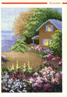 Cross Stitch House, Cute Cross Stitch, Cross Stitch Embroidery, Cross Stitch Patterns, Cross Stitch Landscape, Hand Embroidery Designs, Beading Tutorials, Hobbies And Crafts, Pixel Art