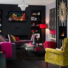 Lovely dark and jewel tone living room