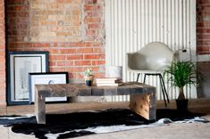 Rustic Modern Coffee Table by KithandKinStore on Etsy,