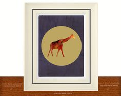 11X14 Painted Giraffe Illustration Print | Custom