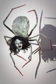 Ooak handmade hanging spider horror art by chrisandrescreations