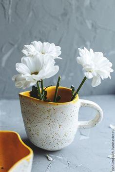 Ceramic cup | Купить Сливочник - желтый, белый, Керамика, керамическая посуда, керамика ручной работы, керамический, подарок
