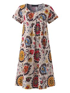 O-NEWE Vintage O-neck Short Sleeves Floral Dresses For Women
