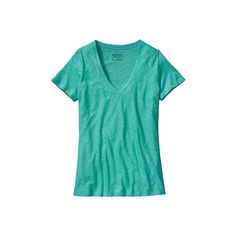 Women's Patagonia Necessity V-Neck - Howling Turquoise Short Sleeve... ($49) ❤ liked on Polyvore featuring tops, t-shirts, v-neck tee, vneck t shirts, tee-shirt, t shirts and short-sleeve shirt