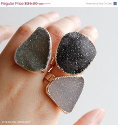 SALE Silver Free Form Shape Druzy Rings - Statement Rings - Spring Jewelry, Choose Your Stone