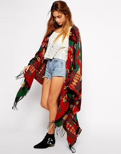 Kiss The Sky Blanket Cape In Aztec Pattern