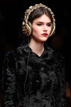 """These headphones!!"" Dolce & Gabbana Fall 2015 RTW Collection - Style.com. Long live fashion: LÜR Nail presents the best designer runway looks of the Milan Autumn/Winter 2015 Collections."