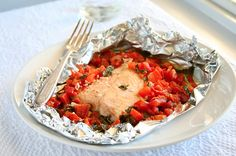 Salmon Packets with Tomato Basil Relish