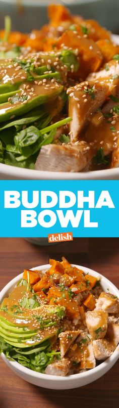 Buddha Bowls...brown rice, roasted sweet potatoes, garlic-ginger chicken, spinach, avocado, with a peanut butter-lime-soy sauce-sesame oil dressing.