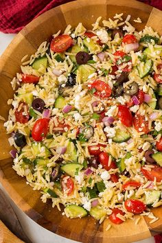 Greek Orzo Salad with feta is perfect to make year round and it goes perfectly with grilled chicken. It's a healthy and filling veggie packed side dish.