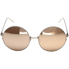 Linda Farrow Luxe LFL343C6SUN Rose Gold Round Sunglasses (Rose... (€685) ❤ liked on Polyvore featuring accessories, eyewear, sunglasses, round frame sunglasses, rose gold sunglasses, mirror lens sunglasses, rose gold sunnies and clear sunglasses