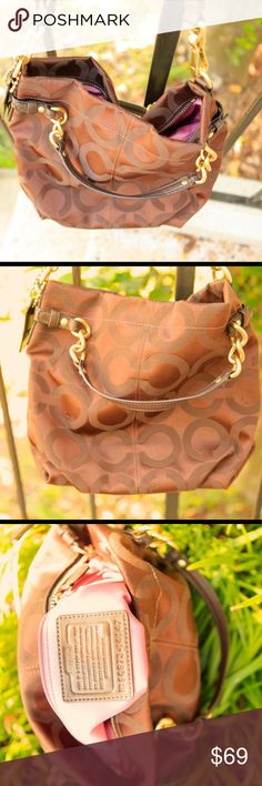 Coach dark brown slouchy medium C logo hobo coach (with dust bag) in great condition; Used once; clean; Coach Bags Hobos