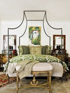 Canopy bed, layered rugs - I LOVE THIS BED!