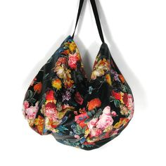 Faux Leather Hobo Bag Flower Handbags Boho Hobo Bag  Black Faux Leather Bag Black Boho Purses Faux Leather Bags Black Travel Bag Gym Bag by LooptheLoop on Etsy So beautiful...must see in person