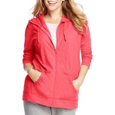 Just My Size Women's Plus-Size Slub Jersey Hoodie, Size: 3XL, Pink