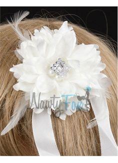 White Bridal Vintage Head Piece Flower Girl Accessories
