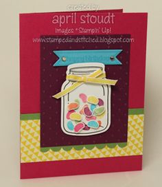 Stamped and Stitched: Jelly Beans in a Jar {Spring Sampler}