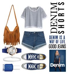 """all denim blue"" by dailycasuals on Polyvore featuring WithChic, Zara, Converse, Vivienne Westwood, Boohoo, Essie, jeanshorts, denimshorts and cutoffs"