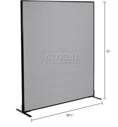 "Office Partitions & Room Dividers | Office Partition Panels | Freestanding Office Partition Panel, 60-1/4""W x 72""H, Gray 