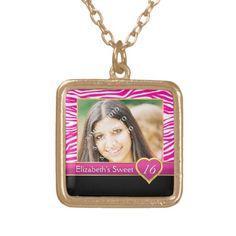 Hot pink zebra print glam Sweet Sixteen birthday Square Pendant Necklace