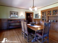 Dining room at the George W. Marston House in San Diego, #California. This Arts and Crafts style home was designed and built by architects William Sterling Hebbard and Irving Gill in 1905. George Marston was a department store owner and a civic leader in San Diego. He was a founding member of the San Diego Historical Society. The home became a museum in 1987 and is maintained by Save Our Heritage Organisation. Discover more history @ www.thehistorygirl.com