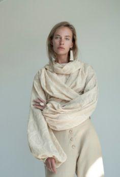 KM By Lange Cream Soft Cotton Ceramics Blouse on Garmentory Wrap Blouse, Ceramics, Cream, Sleeves, Model, Cotton, How To Wear, Shirts