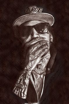 Rapper Kid Ink Pen Portrait... A4