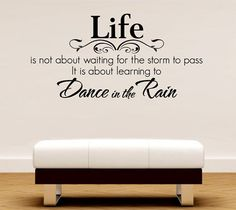 Romantic Poetry Dance in the Rain Removable Mural Decal Sticker Letting Quotes Life Wall Decal DIY Decoration (Mainland)) Removable Wall Decals, Learn To Dance, Dancing In The Rain, Rain Dance, Nursery Wall Decor, Room Decor, Wall Art Quotes, Wall Stickers, Lettering