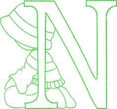 Alfabeto riscos ou moldes de letras Sunbonnet Sue bordado - Alfabetos Lindos
